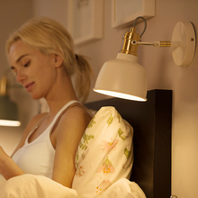 цена на Wall lamp bedside lamp bedroom reading lamp Nordic simple modern creative with plug switch open line wall lamp