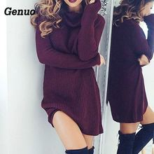 Women Sexy Dress Fashion Autumn Winter Dresses High Necked Long Sleeve Womens Wool Knitting Casual Mini