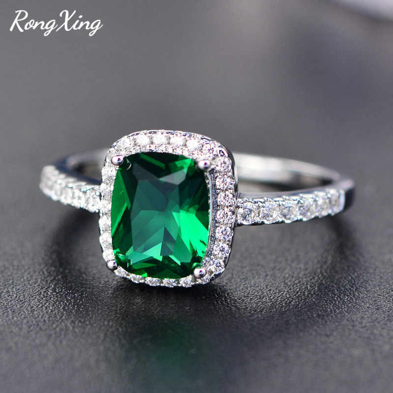 RongXing Purple/Green/Blue/White/Yellow/Pink Zircon Rings For Women 925 Sterling Silver Filled Multicolor Birthstone Ring HR051