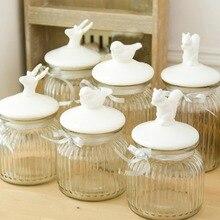 1 stücke neue ankunft zakka nordischen stil keramikglas verschlossenen können/lagerung flasche/vogel, eichhörnchen, rentier Option/Home dekoration