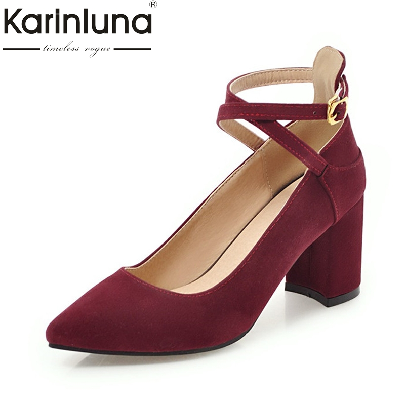 KarinLuna Women's Ankle Strap Buckle Up Pointed Toe Chunky High Heel Shoes Woman Party Wedding Office Pumps Big Size 31-43 egonery flat sandals woman handmade genuine leather low heel pointed toe shoes cross tied shoes ankle strap big size flats 32 43