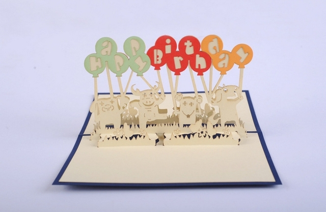 Hot Selling5pcs Lot3D Pop Up Greeting Card Happy Birthday