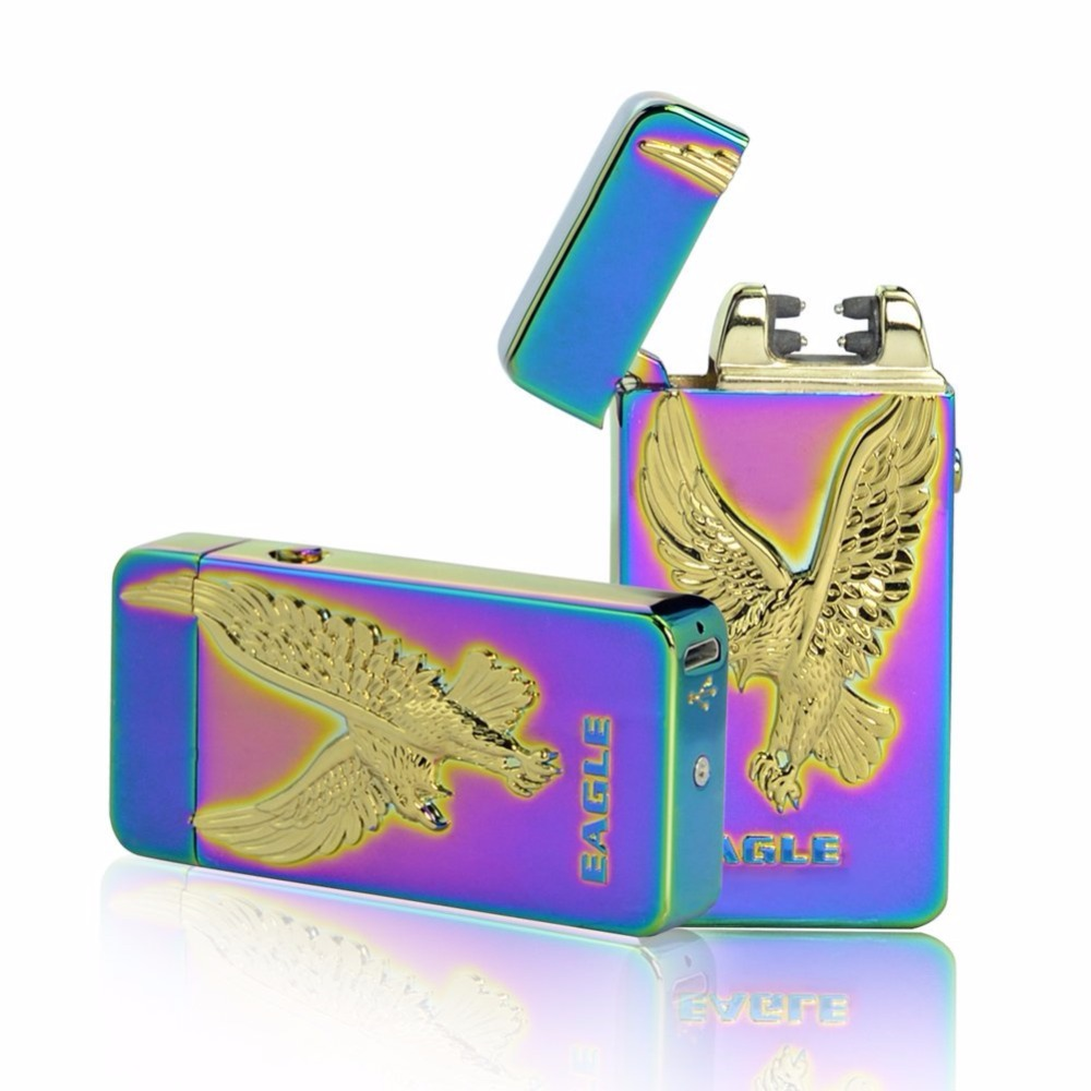 Usb Charging Electric Double Arc Plasma Eletronic Windproof Lighters for Smoker Cigarettes Cigar Lighterno Gas Gifts for Men
