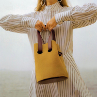 2019 Spring Summer Woman Bucket Bags Personality Hit Color Large Capacity Shoulder Bag Portable Shopping Bag Korean Fashion