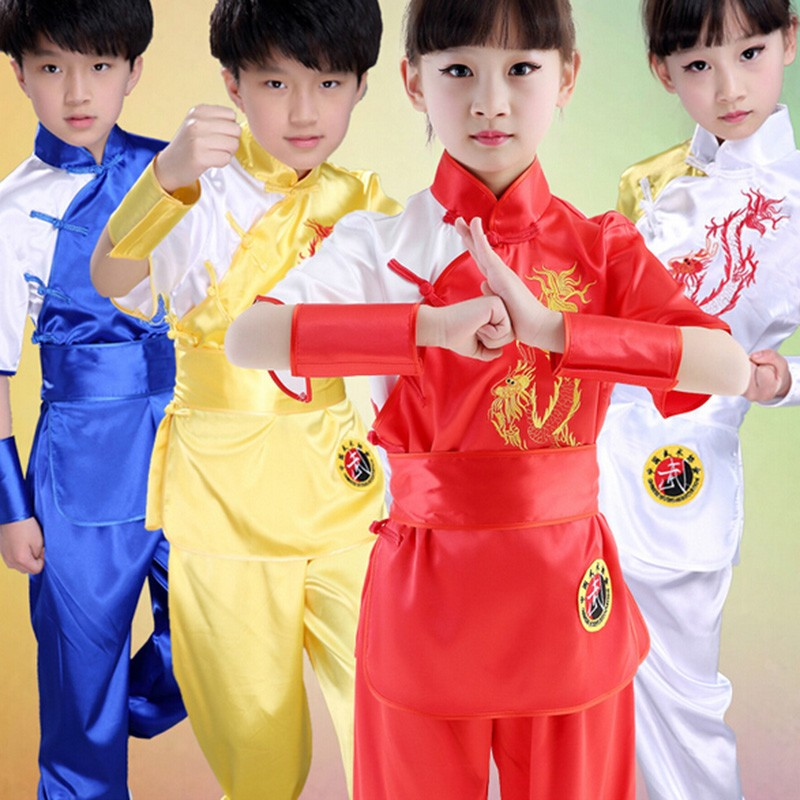 Children Chinese Traditional Wushu Costume Uniform Kung Fu Suit for Kids Boys Girls Stage Performance Clothing Set