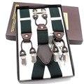 Liga forte caixa de Presente adulto suspensórios 6 clipes suspensórios De Couro ocasional do vintage moda Tirantes 3.5*110 cm Frete grátis 2015