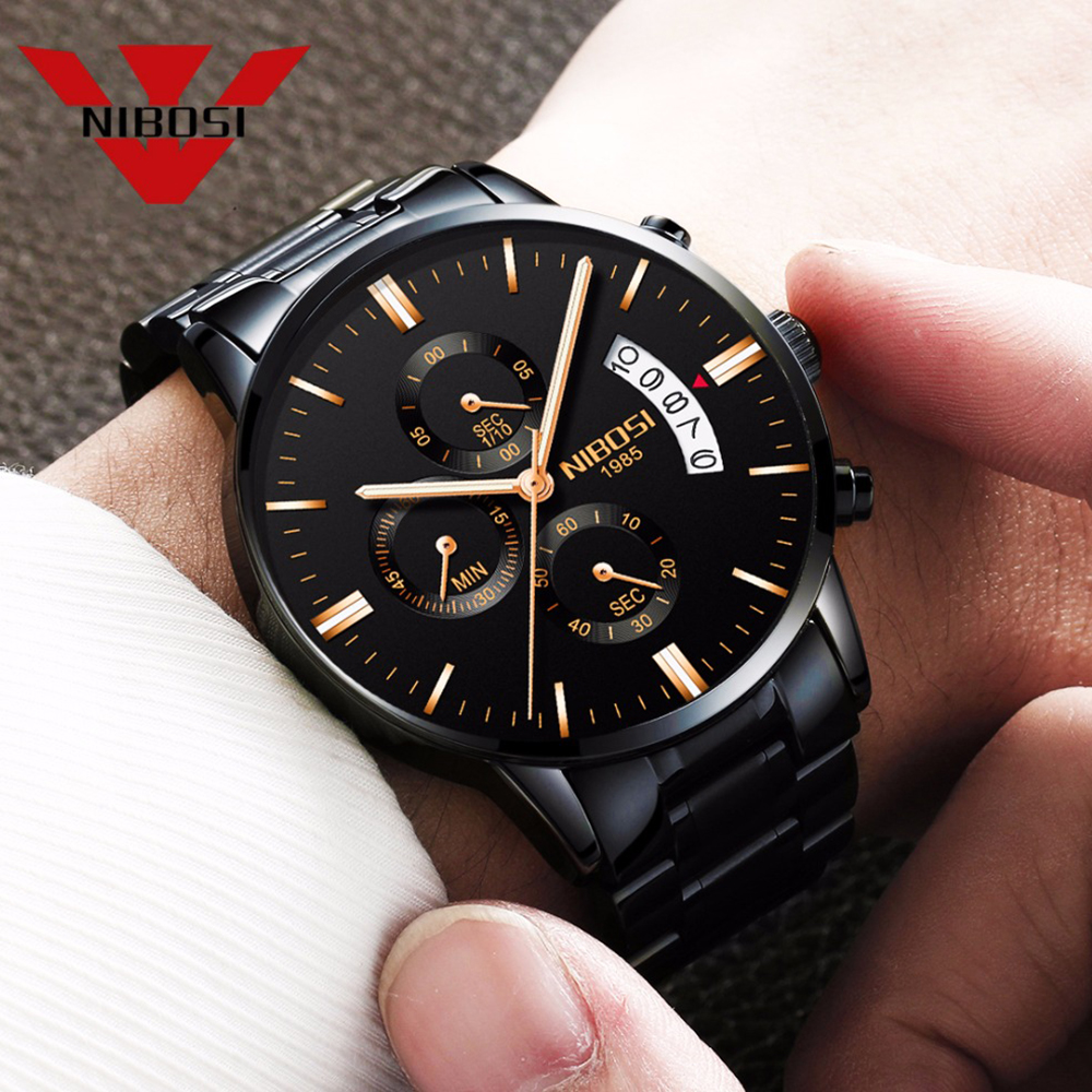 NIBOSI Men Watch Top Brand Luxury Chronograph Quartz Male Full Steel Military Clock Men's Wrist Watch Man Relogio Masculino nibosi luxury brand men military sport watches men s date quartz clock full steel waterproof male wrist watch relogio masculino
