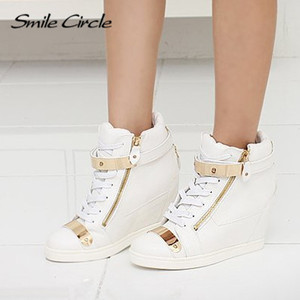 Image 2 - 2018 Spring Autumn Style wedges sneakers women high top PU leather High heel casual shoes women sneakers black white