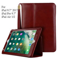 Business Wallet Smart Cover Leather Case For 2017 New IPad 9 7 Luxury Vintage Flip Stand