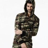 Con Cappuccio da uomo Maglietta 2017 del Marchio di Moda Uomo Manica Lunga t Shirt Camouflage Militare Streetwears Casual Hip Hop Maglietta di Cotone Tee
