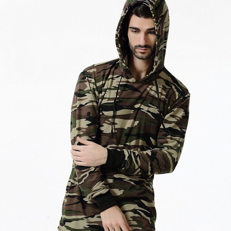 Hooded T Shirt Men 2018 Spring Brand Camouflage Military Long Sleeve Men T Shirt Streetwears Casual Hip Hop Tshirt Cotton Tee