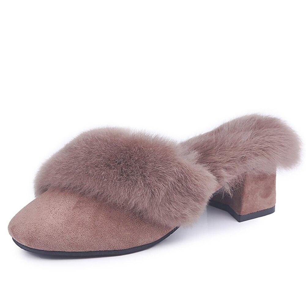 Bloque Brown black Slip Mulas Altos La Zapatos Señoras Fiesta Tacones On  Talones Fur Mules De Invierno Caliente Mujeres Boda ... 643e895baf31