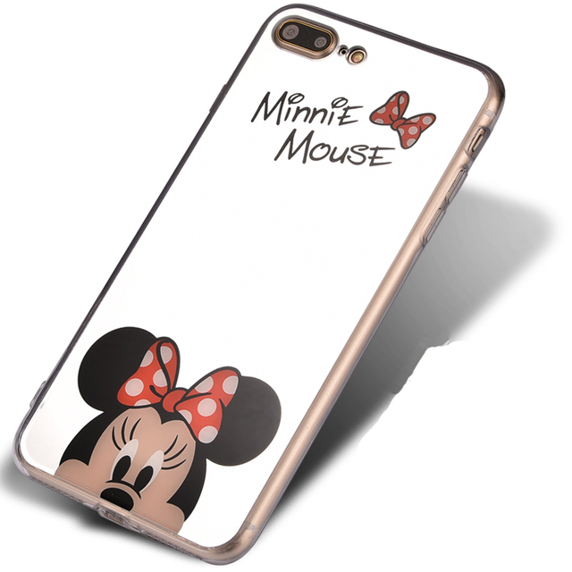 Mirror Cartoon Mickey Minnie Case For iPhone 7 6S SE 5S Cases Plating Soft Phone Cases For iPhone 6s 6 7 Plus Cover Coque Fundas