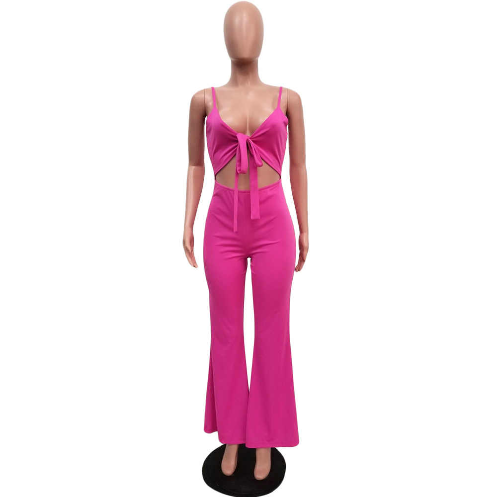 Tulum kadın Tulum Seksi Derin V Katı Renk Kesme Kapalı Omuz Playsuits Moda Sling Geniş Bacak Bodysuit Backless Casual