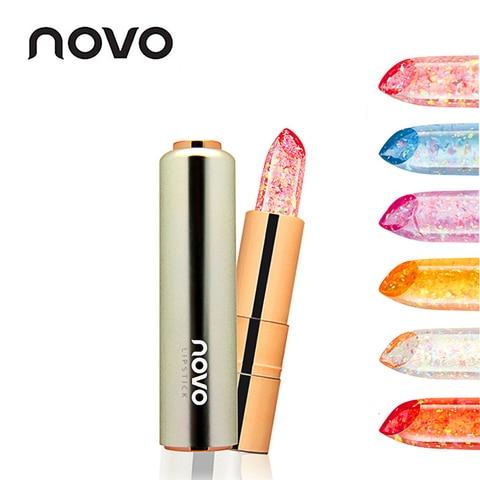 NOVO Jelly Flower Gold foil Transparent Nude Lipstick Waterproof Long Lasting Makeup Moisturizing Lip Gloss Make Up Women Beauty Pakistan