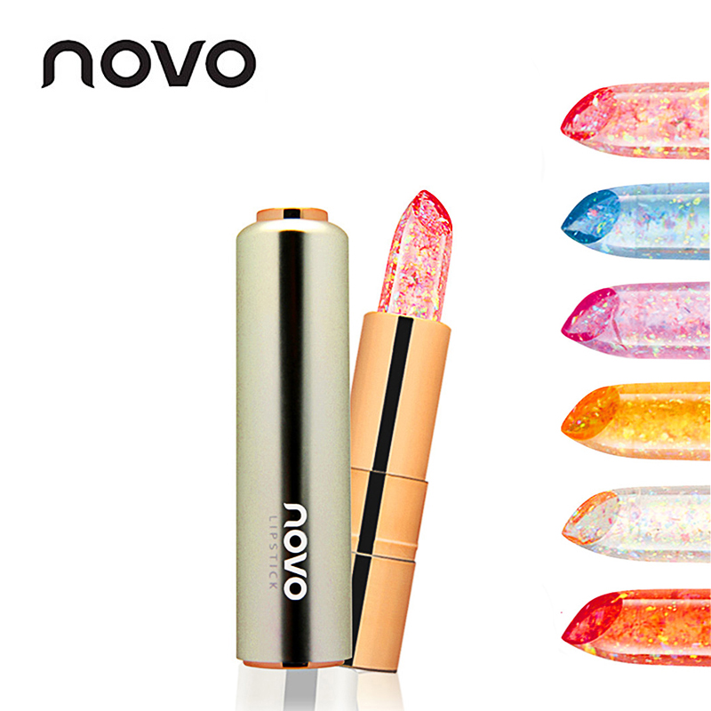 NOVO Jelly Flower Gold foil Transparent Nude Lipstick Waterproof Long Lasting Makeup Moisturizing Lip Gloss Make Up Women Beauty