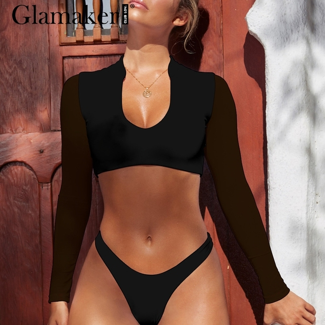 Glamaker Sexy high cut two-piece suits bodysuit women Mesh long sleeve push up bodysuit rompers Sexy female thong bodysuit 2019