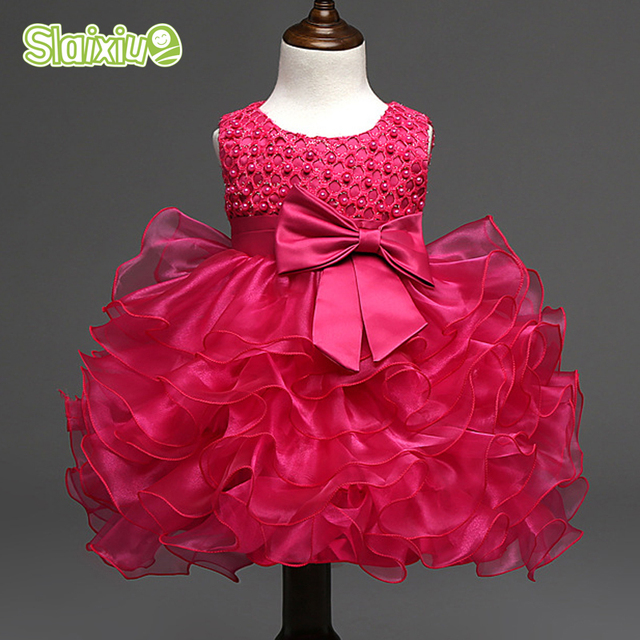 Summer Dress Luxury Petals Bowknot Infant Clothes Wedding Party Kids Dresses For Girls Sleeveless Floral Baby Toddler Girl Dress