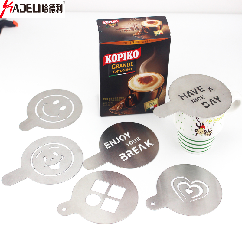 Hadeli 6pcs/set Diameter 10cm Stainless Steel Coffee Stencils Metal Chocolate Cake Mold Printing Model Template Barista Stencil