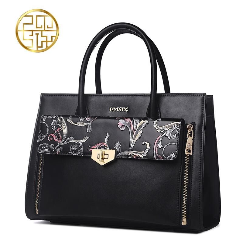Pmsix new fashion cowhide handbag embossed Chinese style female shoulder bag shoulder