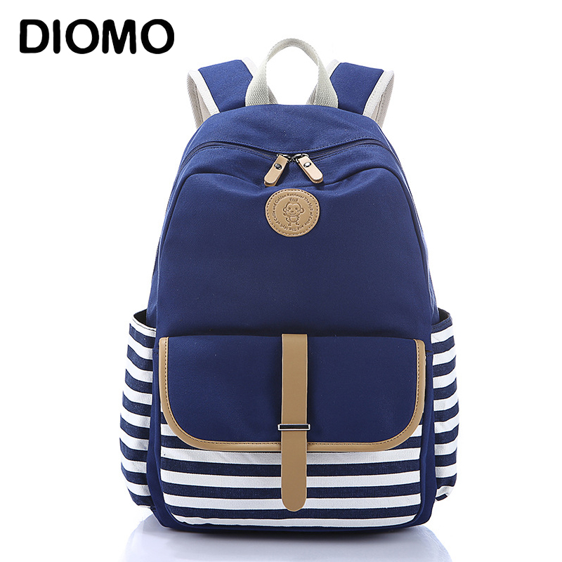 DIOMO School Bag Stripes Canvas Backpack Schoolbags Stylish Students School Backpack For Girls Travel Bags USB Charging Port