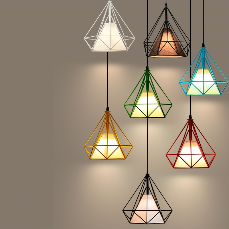 modern black birdcage pendant lights iron minimalist retro light Scandinavian loft pyramid lamp metal cage with E27 ZDD0004
