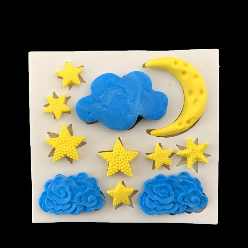 Estrella Luna Nube Forma de Silicona Molde de La Torta, Cocina Molde Para Hornea