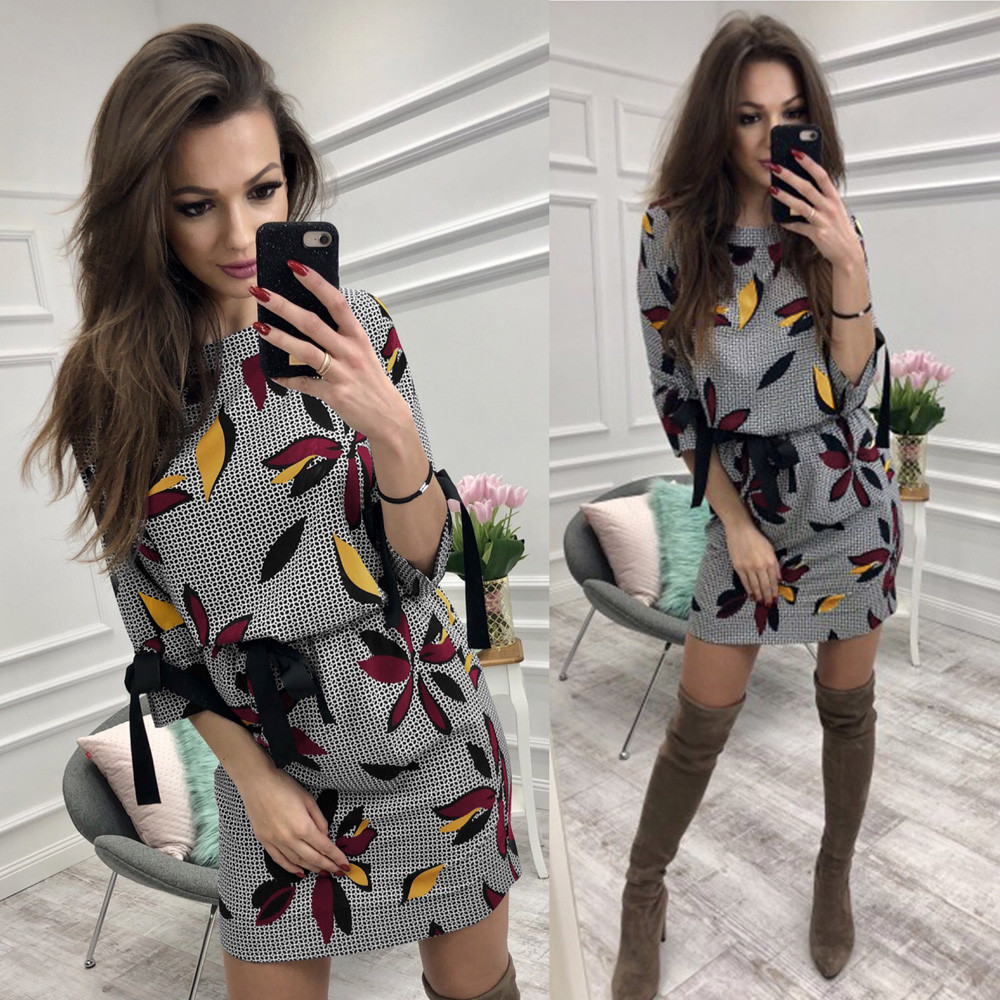 2019 Spring Modern Lady Women's O neck Long Sleeve Bodycon Evening Party Short Slim Fit Body Draw down age straight Dress image