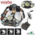 New 5000Lm Boruit Headlamp XM-L T6 + XPG R5 LED Headlight Head Lamp 3 LED Headlight Torch lanterna led 4Mode +AC Charger