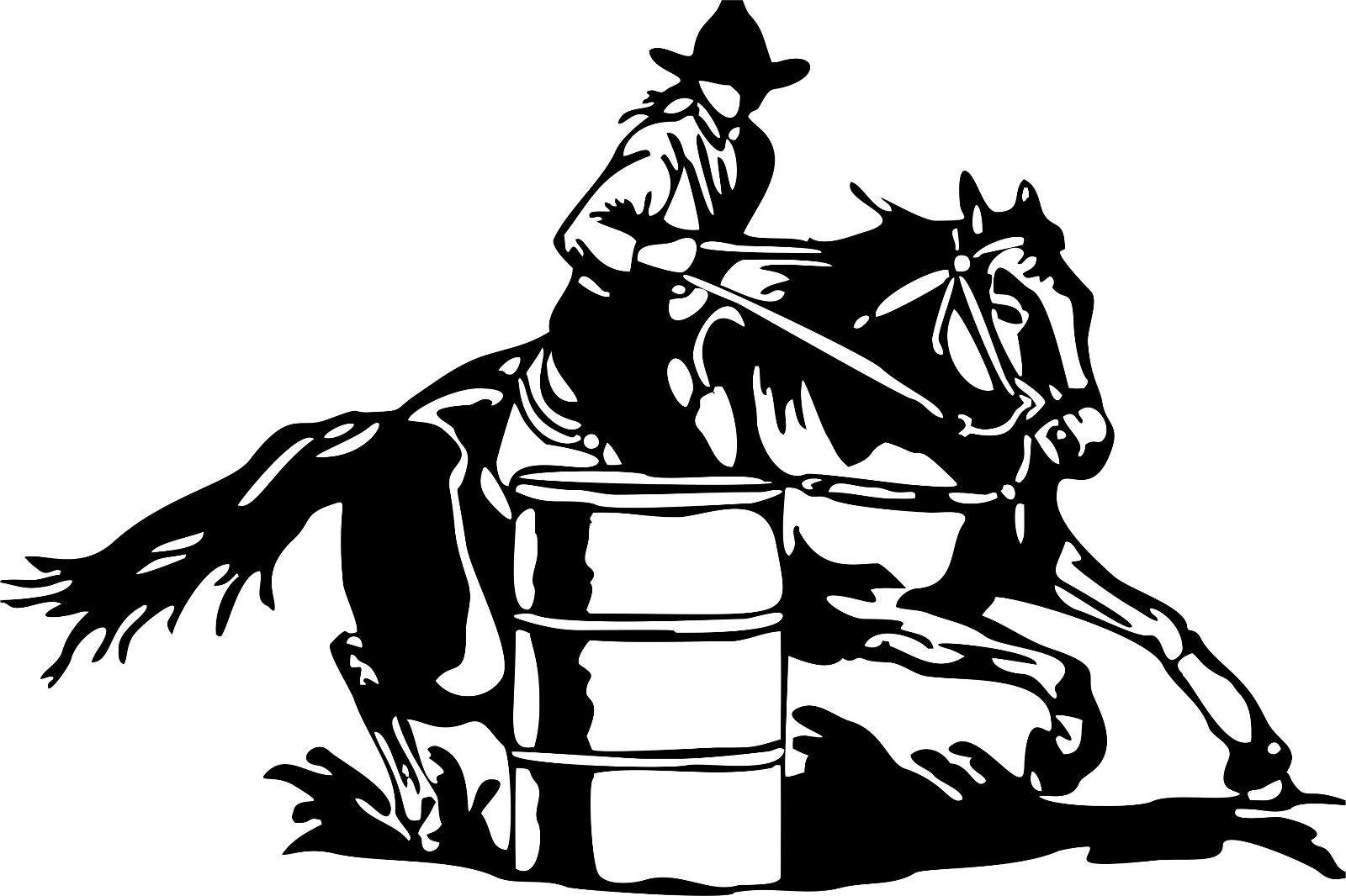 Large Barrel Racing Cowgirl Rodeo Horse Car Truck Window Vinyl ...