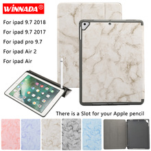 For Apple iPad Air 2 case for ipad 9.7 2018 marble grain capa TPU coque pencil slot cover Pro / 2017