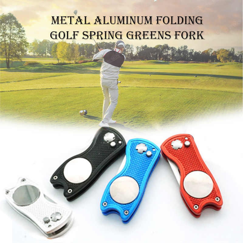 2019 Hot Sale Aluminium Divot Fork Tool with Button Magnetic Ball Marker Portable for Golf Club 19ing
