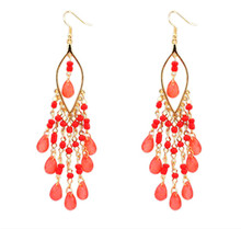 Factory direct sales in Europe and the sweet Bohemia exaggerated fashion beads tassel pendant earrings цена и фото