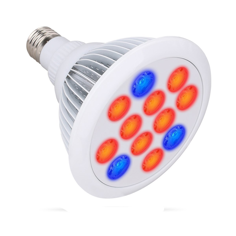 LED Grow Light 12W E27 LED Plant Growing Bulbs 2pcs LEDs 3-band for Indoor Plants Garden Greenhouse and Hydroponic Aquatic