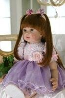 Long hair braid princess Reborn Baby Doll real Soft silicone Reborn Babies Girl 61cm Adorable Bebe Kids reborn baby doll Toy bjd