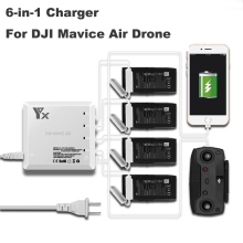 6 in1 DJI Mavic Air Intelligent Battery and remote Controller Charger USB Port Hub 4 Batteries Charging For DJI Mavic Air drone dji spark intelligent battery fast charger remote controller for dji spark battery 6 output charger with 2 usb ports 4 adapters