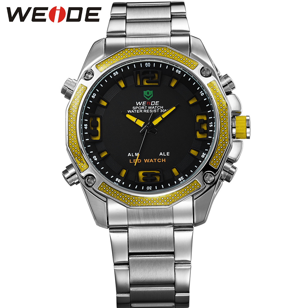 ФОТО WEIDE Popular Brand Sport Military Watch Fashion Casual Quartz Wristwatch 30m Waterproof LED Analog Digital Relogio Masculino