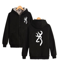 Two Step Famouse Browning Zipper Hoodies Brand Knife Men Women Thick Warm Winter Hooded Sweatshirt