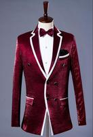 Red Stage Formal Dress Marriage Suits Blazer Slim Mens Blazers Set Groom Married Costume Banquet Man