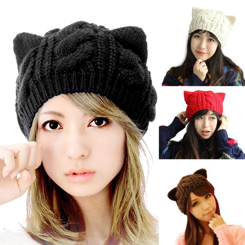 2e73bfd5 2016 Lovely New Fashion Women Cap Devil horns Cat Ear Crochet Braided Knit  Ski Beanie Wool