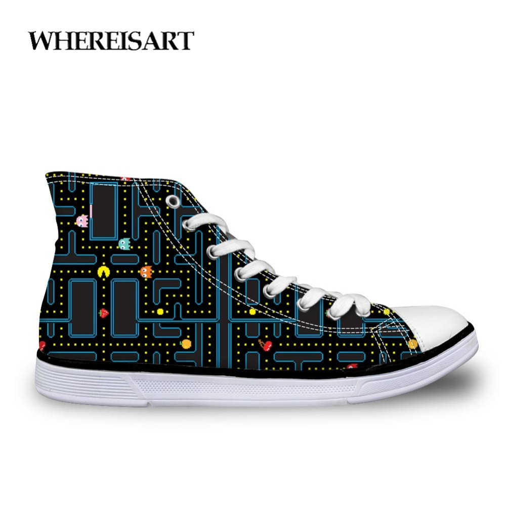 WHEREISART Man's Casual Shoes Black White Canvas Shoes Sneakers Student High Top Lace Up Vulcanize Flat Custom Footwear For Men