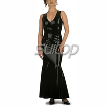 Suitop sleeveless latex long Dress