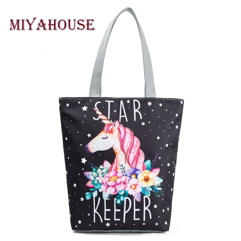 Miyahouse Casual Canvas Tote Handbag Women Cartoon Unicorn Printed Shoulder Bag Female Summer Beach Bag Shoulder Bag Lady