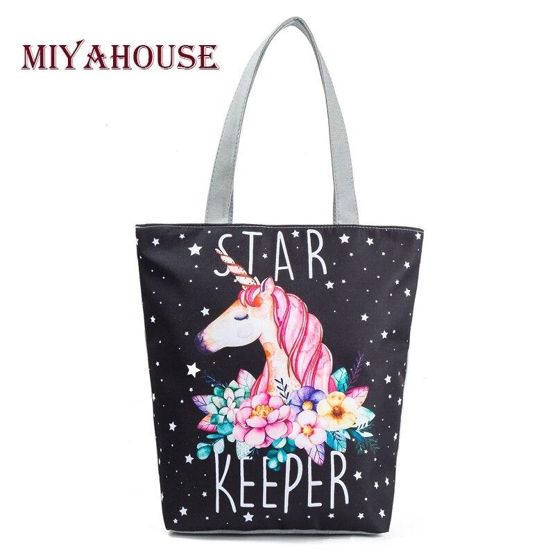 Miyahouse Casual Canvas Tote Handbag Women Cartoon Unicorn Printed Shoulder Bag Female Summer Beach Bag Shoulder
