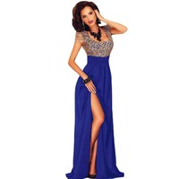 2017 Black Red Blue Long Dress Elegant Gold Lace Overlay Splice Slit Maxi Gown Sexy Clothes