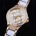 Мода Золотые Женщины Одеваются Часы Relógio Feminino Женщины Просмотрам Кварцевые Роскошный Горный Хрусталь Часы Dropshipping #5 К
