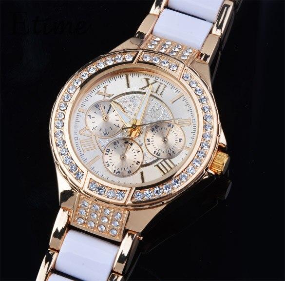 Vestido dorado de moda para mujer Relojes Relogio Feminino Relojes - Relojes para mujeres