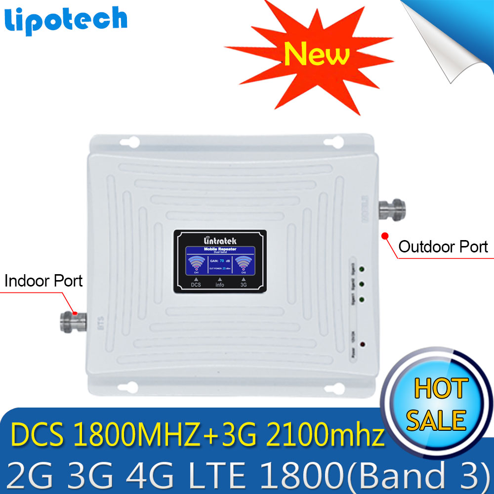 С высоким коэффициентом усиления ЖК дисплей телефона 1800 2100 двухдиапазонный усилитель сигнала Мобильный 3G мГц LTE 4G 1800 Rrepeater сотовая