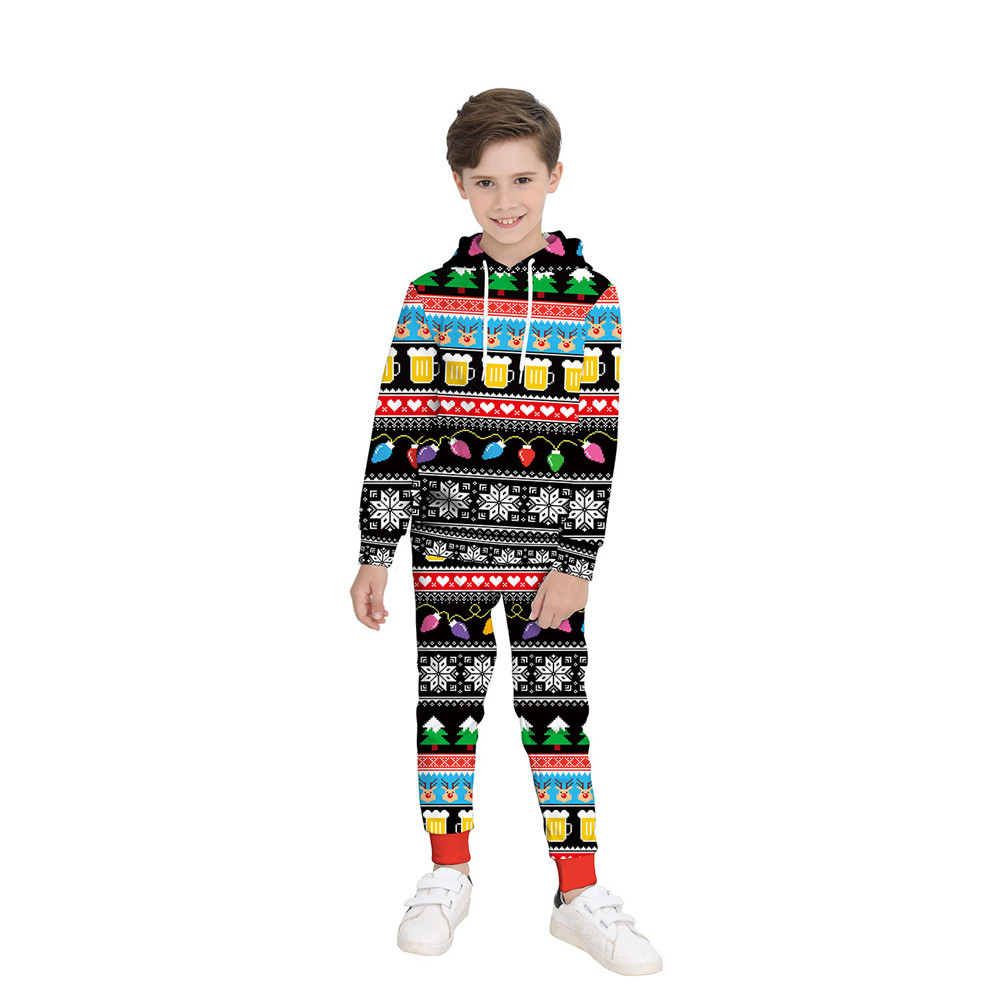 Autumn and winter hot new Christmas children's clothing round neck long-sleeved sweater hooded sweater pants Cosplay costume