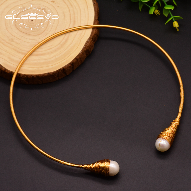 GLSEEVO Natural Fresh Water Baroque Pearl Chokers Necklace For Women Necklaces Luxury Fine Jewelry Collar Hombre Colar GN0048